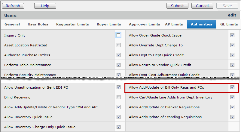 Bill Only Requisitions and Purchase Orders