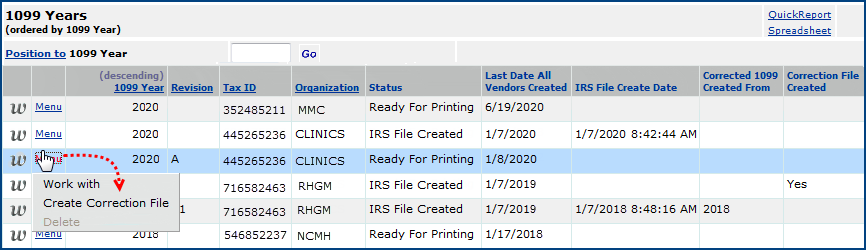 Working With 1099 Misc Form Records