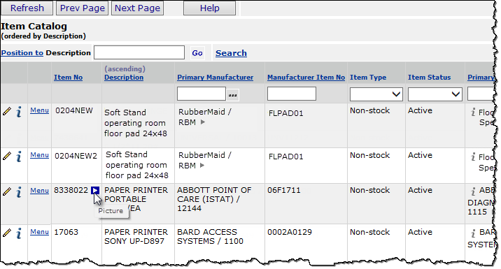 Linking to Web Pages for Item, Vendor, Contract, and Other Information
