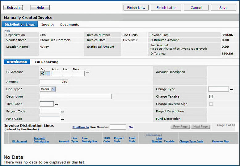 Figure 2   Manual Invoice Header With Vendor Entered  1099 Invoice